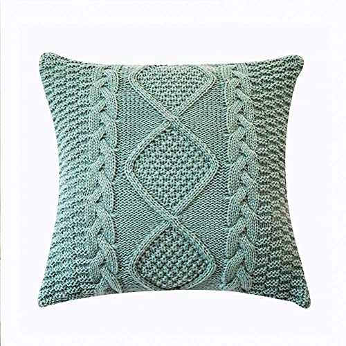 XINYUDAGE Cotton Knitted Cushion Case with Hidden Zip Ultra Soft Cushion Cover Double Cable Warm Throw Pillowcase for Bed Couch Green 45 x 45 cm (1 Piece) iteration