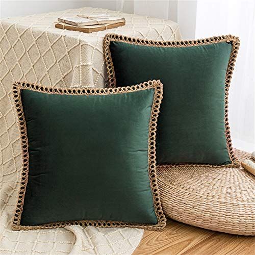 HAUSEIN 2 Pack Velvet Throw Pillow Covers Decorative Pillowcase, Trimmed Edge Square Soft Solid Cushion Case, for Couch Sofa Bedroom Car 45x45 cm, Dark Green