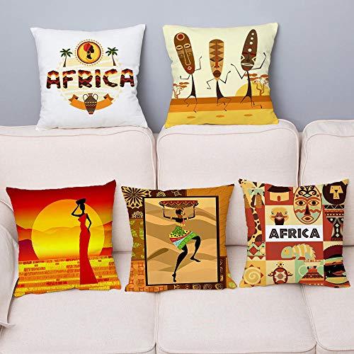 JWEK Pillowcase 5 Piece Set Pillowcase African Style Cushion Cover 45X45Cm Square Pillowcase Sofa Car Home Decoration Pillowcase