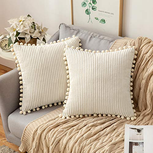 MIULEE Striped Corduroy Fabric Cushion Covers with Pom-poms Solid Cushion Cover Pure Color Pillow Cover Sham Home for Sofa Chair Couch/Bedroom Decorative Pillowcases 18'x18' 2 Pieces Cream