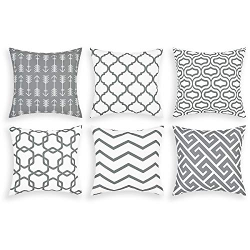Alishomtll Cushion Covers set of 6, Pillow Cover Cushion Case, Soft Throw Pillowcase Geometric Sofa Home Decoration Pillow, Polyester 18 x 18 inch Grey