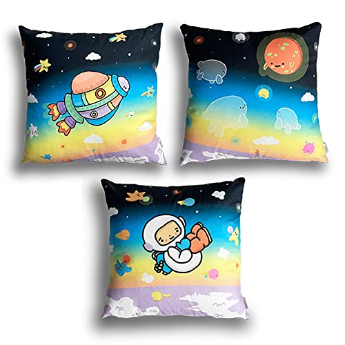 BEBELUG Pack of 3-(45cm x 45cm) Colorful Space Astronaut Theme Cushion Cover, Decorative Throw Pillow Cover for kid's Room, Soft Velvet Material Panoramic Print Design (Space)