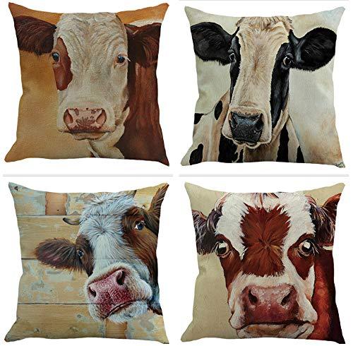 SCVBLJS Milk Cow Cushion Covers Linen Square Pillow Covers Set Of 4 Home Decor For Sofa Car Bedroom Decor 45 X 45 Cm