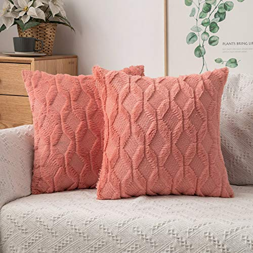 MIULEE Pack of 2 Cushion Cover Wool Throw Pillow Case Decorative Elegant With Plush Home for Sofa Bedroom Living Room Protector 45 x 45cm 18 x 18 Inch Coral red