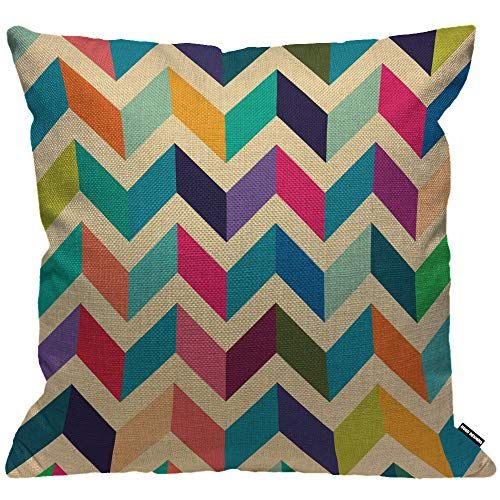 HGOD DESIGNS Cushion Cover Multicoloured Zig Zag Plain Blue Yellow Pink Throw Pillow Cover Home Decorative for Men/Women/Boys/Girls living room Bedroom Sofa Chair 18X18 Inch Pillowcase