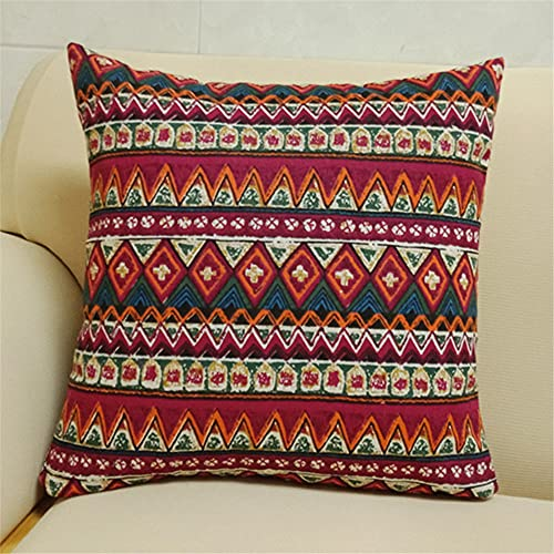 AUTUCAU 24 X 24 Inch Home Decorative Bohemia Linen Square Throw Pillow Case Cushion Cover for Sofa Chair Couch/Bedroom Pillowcase with Invisible Zipper
