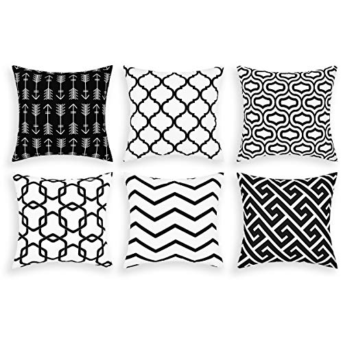 Alishomtll Cushion Covers set of 6, Pillow Cover Cushion Case, Soft Throw Pillowcase Geometric Sofa Home Decoration Pillow, Polyester 18 x 18 inch Black