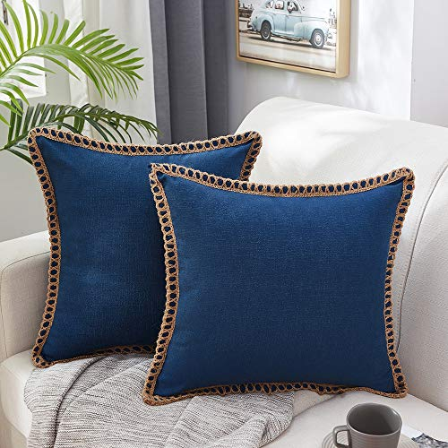 MERNETTE Pack of 2, Burlap Linen Farmhouse Decorative Square Throw Pillow Cover Cushion Covers Pillowcase, Home Decor Decorations For Sofa Couch Bed Chair 18x18 Inch/45x45 cm (Navy)