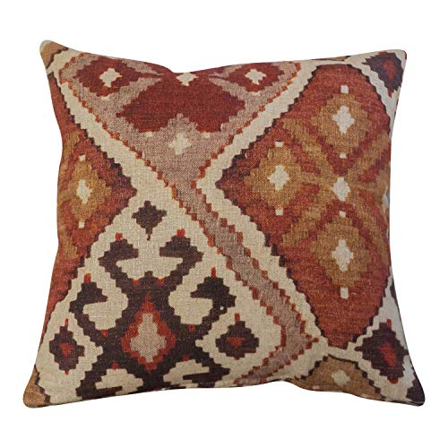Kilim Turkish Style Printed Double Sided Cushion Cover. 17' x 17' (45cm) Square Scatter Pillow Case. Handmade from super soft natural linen blend cloth in terracotta and burnt orange.