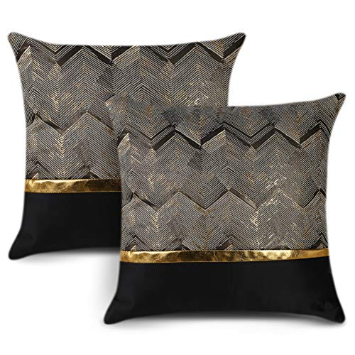 Artscope Set of 2 Cushion Cover for Bed Couch Sofa Car Decor Luxury Modern Minimalist Gold Leather Stitching Wavy Stripes Square Pillowcase Throw Pillow Covers 45x45cm (Black)