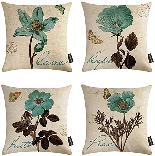 VIGVOG Set of 4 Retro Flower Cushion Covers Decorative Farmhouse Cotton Linen Throw Pillow Cover 18 X 18 Inches Home Decoration