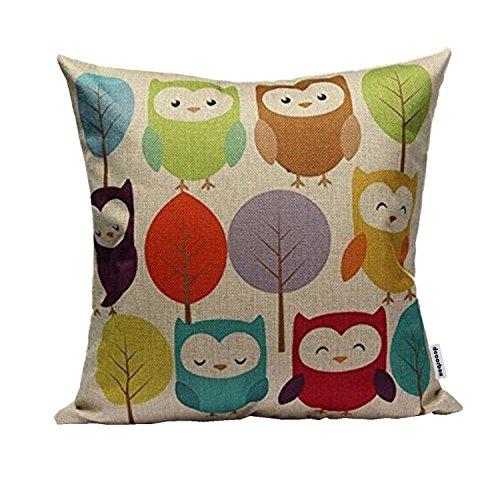 Cotton Linen Square Throw Pillow Case Decorative Cushion Cover Pillowcase Cartoon Cute Owls and Trees 18 'X18 '