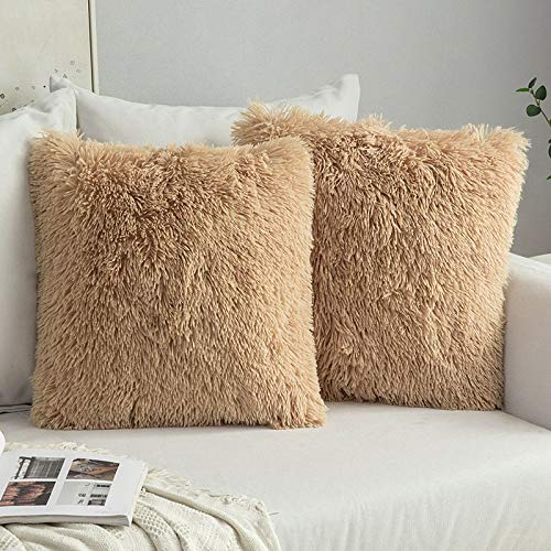 Pack of 2 Faux Fur Throw Pillow Cover Fluffy Soft Decorative Square Pillow covers Plush Case Faux Fur Cushion Covers For Livingroom Sofa Bedroom 20 x 20 Inch 50 x 50 cm Brown