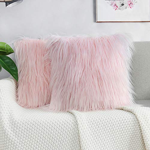 2 Pack Fluffy Cushion Covers Faux Fur Throw Pillowcase, Square Pillow Plush Covers Shaggy Soft Home Decor for Living Room Sofa Bedroom 45x45 cm Pink