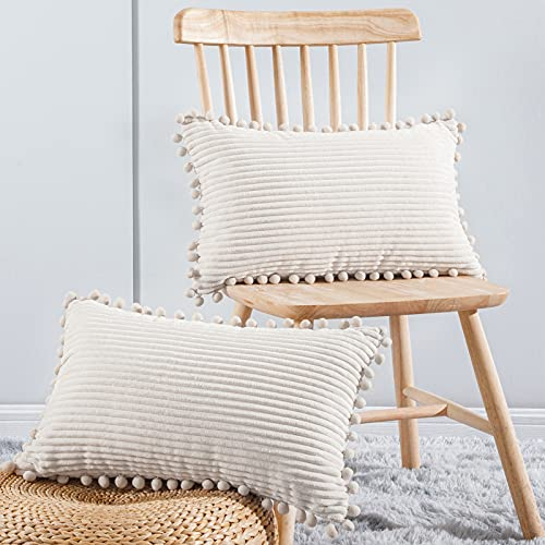 Topfinel Set of 2 Striped Corduroy Square Throw Pillow Case Soft Cushion Covers for Sofa Couch Bedroom Decorative Large Pillowcases with Pom Pom 12x20 Inch 30x50cm Cream