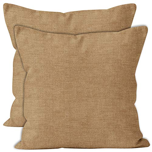 Encasa Homes Chenille Cushion Covers 2 pcs Set - Sand - 40 x 40 cm Textured Solid Colour, Soft & Smooth, Square Accent Decorative Cushion for Couch, Sofa, Chair, Bed & Floor
