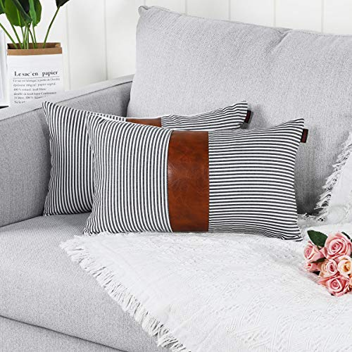Mandioo Black Lumbar Farmhouse Decorative Cushion Covers 12x20 Inches Boho Accent Throw Pillowcases for Couch Sofa Bedroom Faux Leather Cotton Linen Stripe 30cmx50cm,Pack of 2