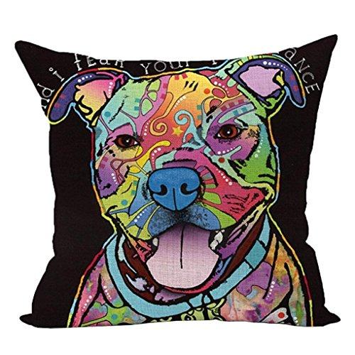 HUHU833 45cm*45cm Pillow Case, Cute Dog Sofa Bed Home Decoration Festival Pillow Case Cushion Cover (Dog D)