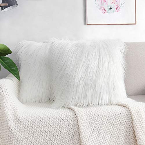 2 Pack Fluffy Cushion Covers Faux Fur Throw Pillowcase, Square Pillow Plush Covers Shaggy Soft Home Decor for Living Room Sofa Bedroom 45x45 cm White