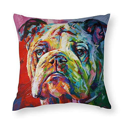 QMS CONTRACTING LIMITED Throw Pillow Cover English Bulldog Throw Pillow Pillow Cases for Home Decor Design Cushion Case for Sofa Bedroom Car 18 x 18 Inch 45 x 45 cm
