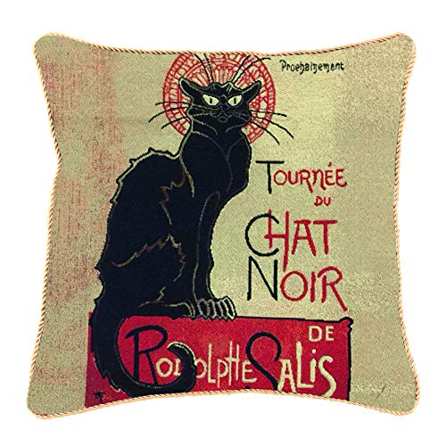 Signare Tapestry Cushion Cover 18 x18 inches 45cm x 45cm Decorative Sofa Cushions Inspired by Théophile Steinlen, Tournee du Chat Noir (CCOV-ART-TS-CHAT)