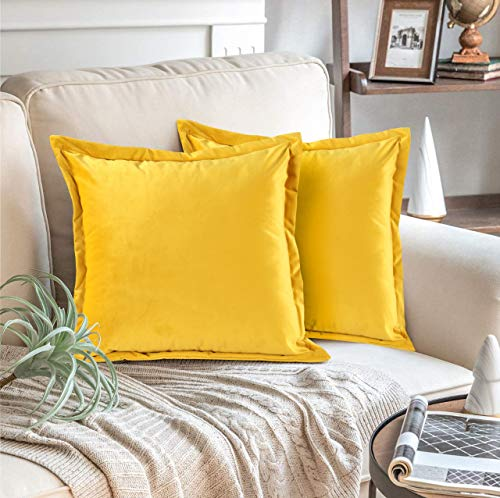 Adam Home Velvet Cushion Covers with Invisible Zipper 18x18 Inch (45x45 cm) Decorative Throw Pillow Cases for Sofa, Bedroom, Couch, Office (Mustard Pack of 4)