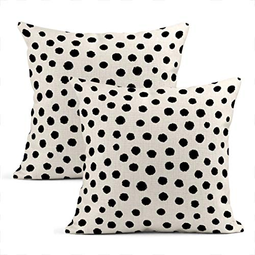 Zynii Set Of Two Throw Cushion Covers Decorative Polka Dot Monochrome Or Blotch Simple Textured Black Dots A White 16 x 16 Inch Pillow Case Home Car Sofa Office Meeting Room Decor Cushion Pillowcase