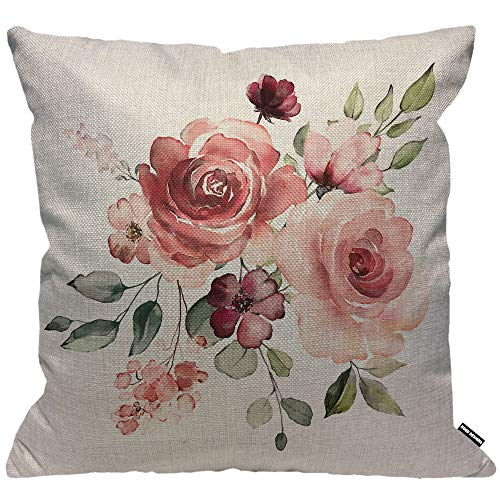 HGOD DESIGNS Cushion Cover Flower Floral Leaf Buds Watercolor,Throw Pillow Case Home Decorative for Men/Women Living Room Bedroom Sofa Chair 18X18 Inch Pillowcase 45X45cm