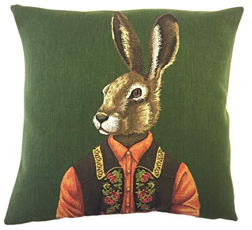 Qui556 Rabbit Pillow Cover Hare Cushion Cover Tiroler Decor Dressed Rabbit Throw Pillow Mountain Decor Hare Lover Gift gobelin pillow