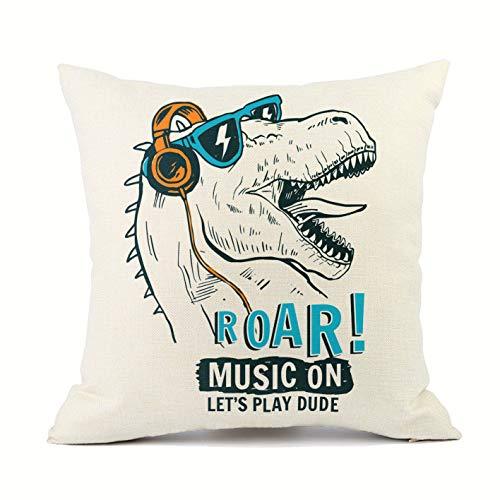 Vioaplem Music Dinosaur Cushion Cover Cotton Linen Sofa Decorative Throw Pillow Case for Home Decor Black 18x18 Inch