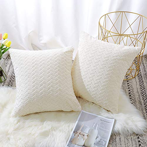 Artscope Pack of 2 Soft Ear of Rice Plush Cushion Covers Geometric Decorative Leaves Throw Pillow Covers European Pillow Shell for Sofa Bedroom Farmhouse 45x45CM (Cream White)