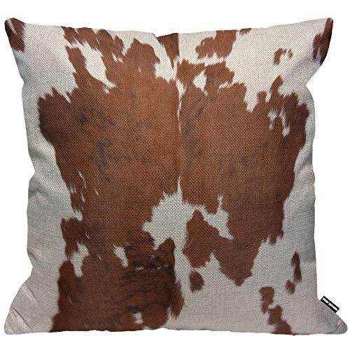 HGOD DESIGNS Cowhide Cushion Cover,Farm Animal Brown Cowhide Print Cow Throw Pillow Case Home Decorative for Men/Women Living Room Bedroom Sofa Chair 18X18 Inch Pillowcase 45X45cm