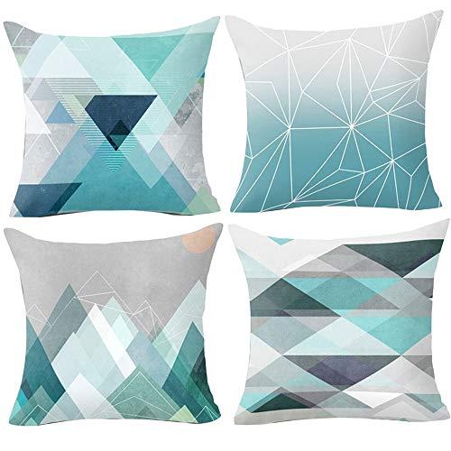 Hangood Geometric Cushion Covers 18x18 Soft Plush fabric Throw Pillow Covers 45cm x 45cm Set of 4pcs Teal