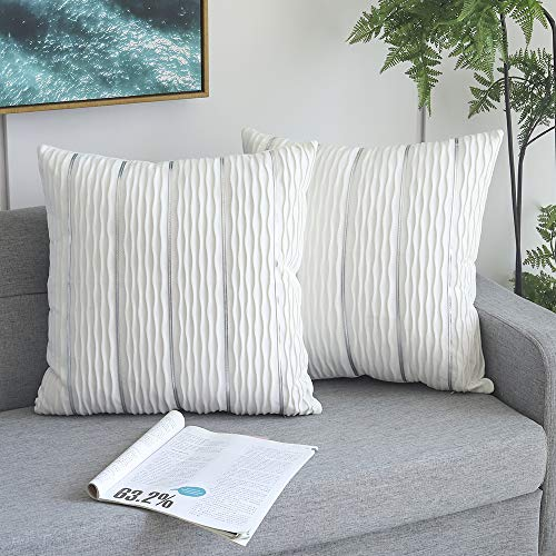 Decorative Jacquard Wave Cushion Covers, 2 Pack Velvet Pillow Cover Sham Cushion Covers, Sofa Couch Bedroom Throw Pillow Cases, Square Pillowcase-White 18' x 18'