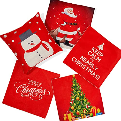 THE TWIDDLERS - 5 Christmas Themed Cushion Square Pillowcase Covers - 18 Inch