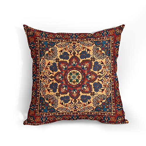 Antique Oriental Turkish Carpet Pattern Cushion Covers 18x18 Inch Soft Cotton Linen Kilim Style Pillow Case Flower Home Decor Cushions Cover Gift for Women/Girls Outdoor Bedroom Couch Sofa Living Room