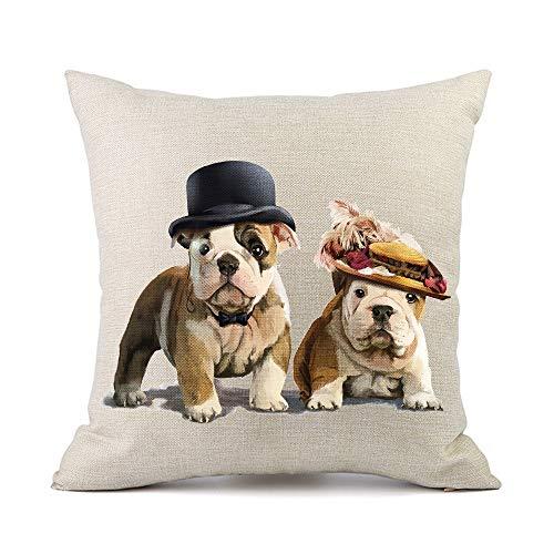 Moyun Cute Pet Bulldog Dogs Cushion Covers Cotton Linen Throw Pillowcase Car Sofa Home Decor 45 x 45 cm