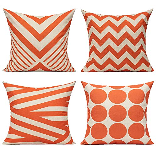 Outdoor Orange Cushion Covers Autumn Decorations Pillow Covers 18x18 Set of 4 for Garden Patio Couch Sofa Bench