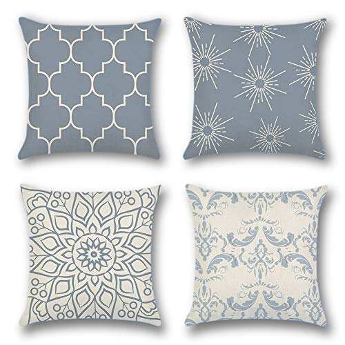 Artscope Throw Pillow Case Cushion Covers 45 x 45 cm Polyester Square Decorative Pillow Covers for Sofa Car Bedroom Indoor Outdoor, Set of 4 (Geometric Pattern Grey - A)