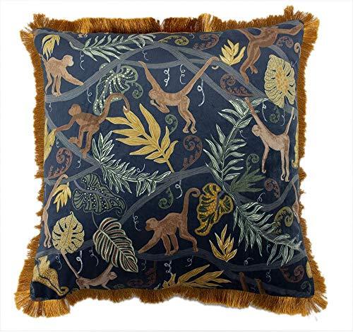 Furn Monkey Forest Cushion Cover-Polyester-Midnight 50 x 50cm (20' x 20' inches), Midnigh Blue