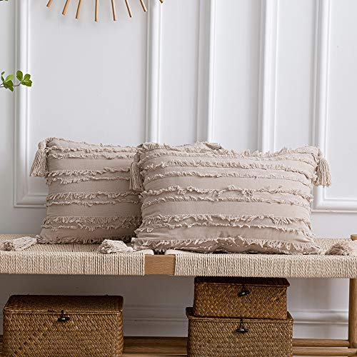 Tan Couch Sofa Chair Cushion Covers: 2 Pack 12x20 Inch (30x50cm) Boho Striped Cotton Linen Rectangular Pillow Cases with Tassels for Farmhouse Home Decor