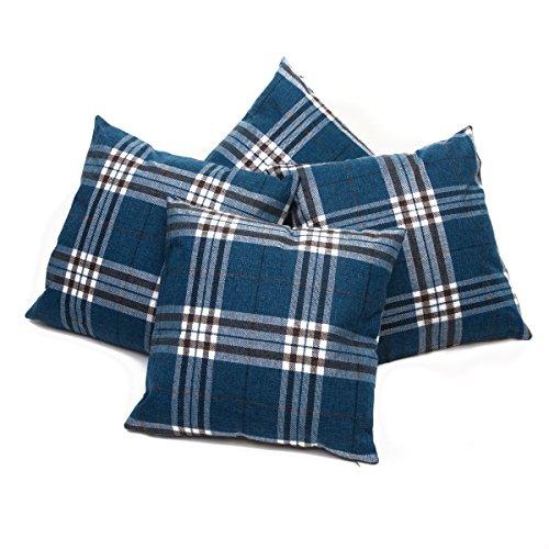 Set of 4 Blue Tartan Check Cushion Covers Regular 18 inch (45 cm) or Large 22 inch (55 cm) (22' x 22')