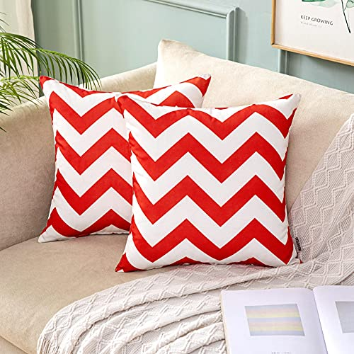 MIULEE Cushion Cover 18x18 Inch Red Pillow Case with Wave Patterns Home Decorating Protectors for Outdoor Waterproof Garden Tent Park Bed Sofa Chair Bedroom Decorative 45x45cm Pack of 2
