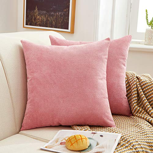 MERNETTE Pack of 2, Thick Chenille Decorative Square Throw Pillow Cover Cushion Covers Pillowcase, Home Decor Decorations For Sofa Couch Bed Chair 18x18 Inch/45x45 cm (Pink)