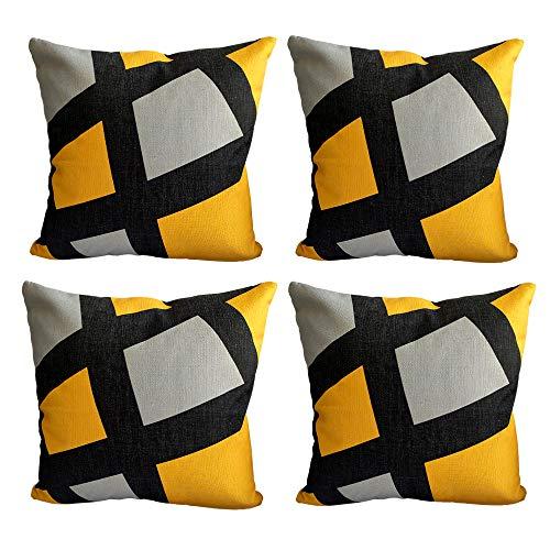 MISSKILY Set of 4 Thick Mustard Yellow Polyester Geometric Printed Design Sofa Cushion Covers with Hidden Zip Closure 18x18 Inch 700g (Giraffe, 18x18(45x45cm) - 700g)