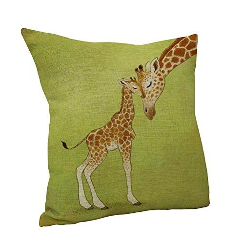 Nunubee 45*45CM Sofa Car Bed Home Decor Cotton Linen Pillow Case Cushion Cover Giraffe