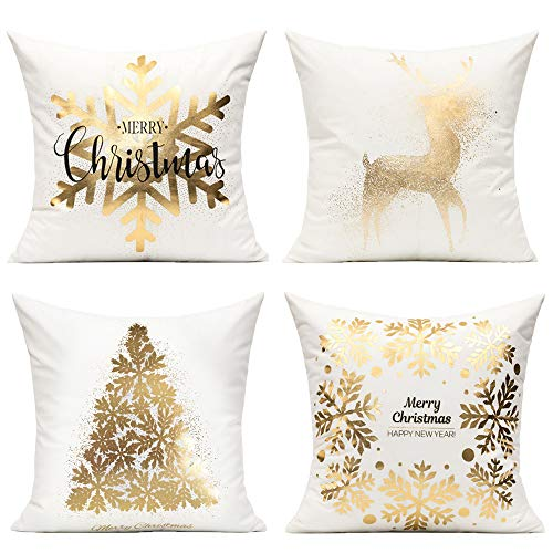 Gold Decorations Christmas Cushion Covers White Gold Décor Xmas Decorative Pillow Cases Set of 4 for Sofa Home Bed,Christmas Snowflakes Tree Deer