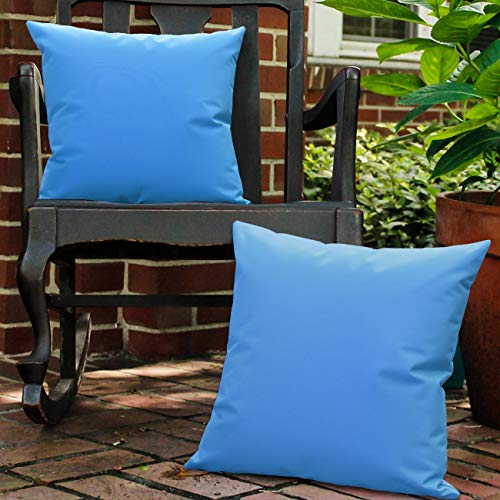 Lewondr Waterproof Outdoor Cushion Cover, 2 Pack Solid PU Coating Throw Pillow Case UV Protection Garden Cushion Cover for Patio Sofa Couch Balcony 18'x18'(45x45cm) - Light Blue