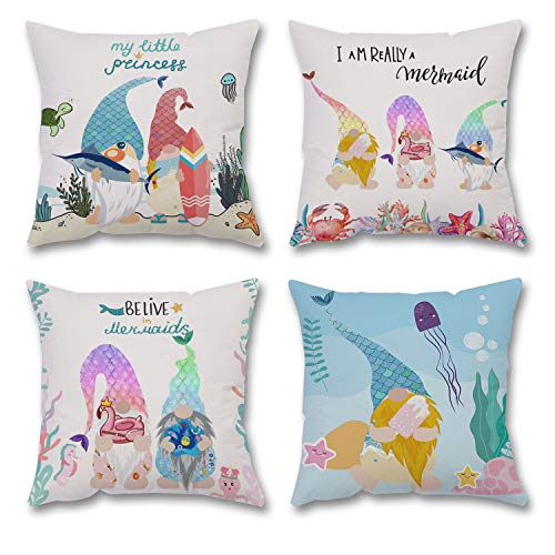Gehydy Summer Mermaid Gnome Cushion Covers Decorations 18x18 inch 2021 New Set of 4 Throw Pillowcase Pillow Covers Summer Decor for Farmhouse Home Office Couch Bedroom Car