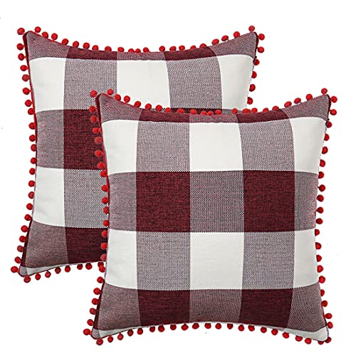 PiccoCasa 2 Pcs Buffalo Check Plaid Throw Pillow Cover with Pom Poms, 18 x 18 Inch, Retro Farmhouse Decorative Cushion Cover for Sofa Couch Bed Home Decor, Wine Beige Red